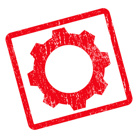 Gear rubber seal stamp watermark. Vector icon symbol inside rotated rounded rectangle with grunge design and unclean texture. Unclean red ink sticker on a white background.