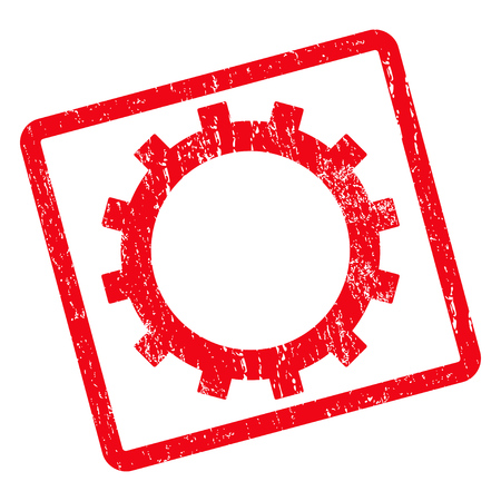 Gear rubber seal stamp watermark. Vector pictogram symbol inside rotated rounded rectangular frame with grunge design and dirty texture. Unclean red ink sign on a white background. Illustration