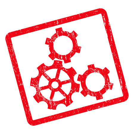 Gears rubber seal stamp watermark. Vector pictogram symbol inside rotated rounded rectangular frame with grunge design and scratched texture. Unclean red ink emblem on a white background. Illustration