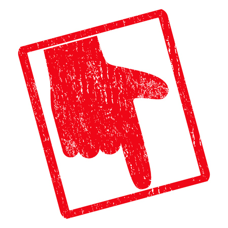Hand Pointer Down rubber seal stamp watermark. Vector icon symbol inside rotated rounded rectangle with grunge design and dust texture. Unclean red ink emblem on a white background.