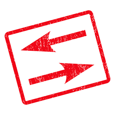 inverse: Horizontal Exchange Arrows rubber seal stamp watermark. Vector pictogram symbol inside rotated rounded rectangle with grunge design and dirty texture. Unclean red ink sign on a white background.