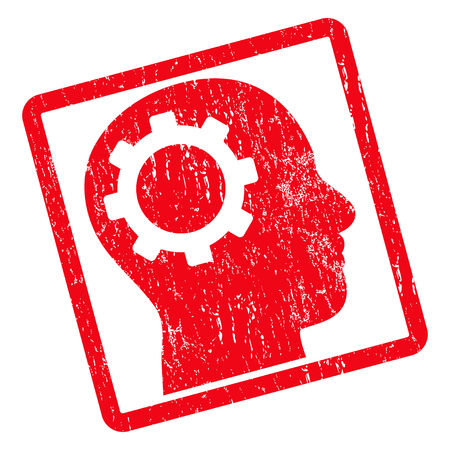 Intellect Gear rubber seal stamp watermark. Vector pictogram symbol inside rotated rounded rectangle with grunge design and scratched texture. Unclean red ink sticker on a white background.