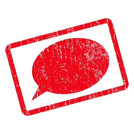dust cloud: Message Cloud rubber seal stamp watermark. Vector icon symbol inside rotated rounded rectangle with grunge design and dust texture. Unclean red ink emblem on a white background.