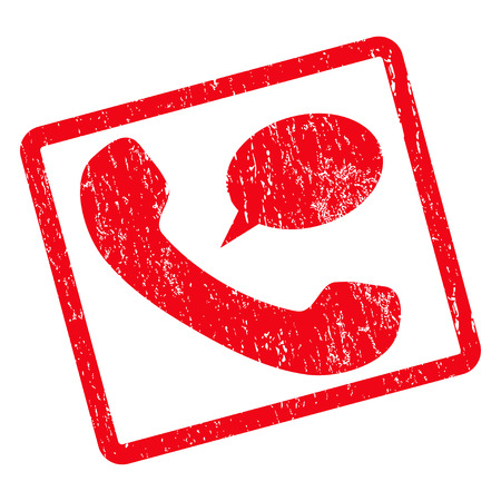 Phone Message rubber seal stamp watermark. Vector icon symbol inside rotated rounded rectangle with grunge design and dust texture. Unclean red ink sign on a white background.
