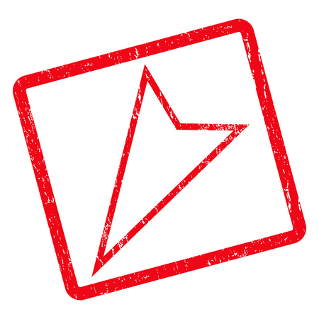 Pointer Left Down rubber seal stamp watermark. Vector pictogram symbol inside rotated rounded rectangle with grunge design and scratched texture. Unclean red ink emblem on a white background.