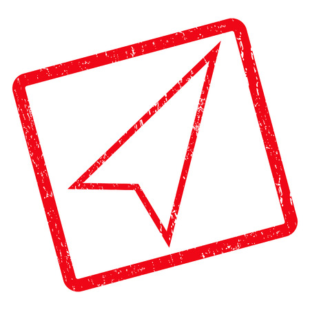 Pointer Right Up rubber seal stamp watermark. Vector icon symbol inside rotated rounded rectangle with grunge design and scratched texture. Unclean red ink sign on a white background.