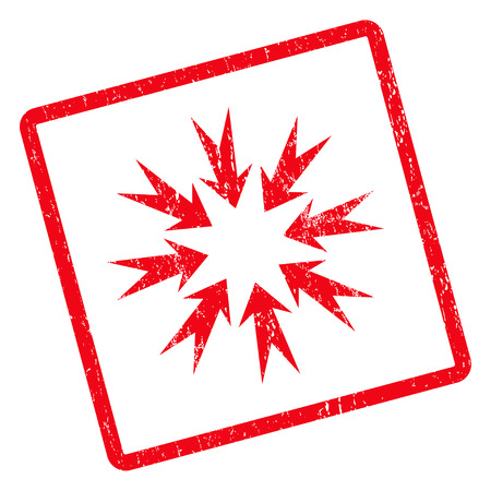 Pressure Arrows rubber seal stamp watermark. Vector pictogram symbol inside rotated rounded rectangular frame with grunge design and unclean texture. Unclean red ink sign on a white background. Illustration