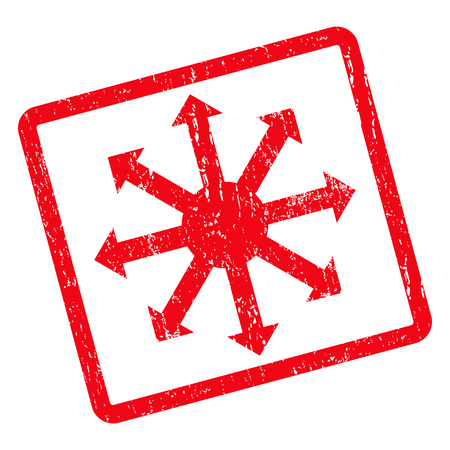 Radial Arrows rubber seal stamp watermark. Vector pictogram symbol inside rotated rounded rectangle with grunge design and dirty texture. Unclean red ink sign on a white background.