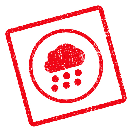 watery: Rain Cloud rubber seal stamp watermark. Vector pictogram symbol inside rotated rounded rectangular frame with grunge design and scratched texture. Unclean red ink emblem on a white background.