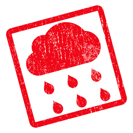 dust cloud: Rain Cloud rubber seal stamp watermark. Vector pictogram symbol inside rotated rounded rectangle with grunge design and dust texture. Unclean red ink sticker on a white background.