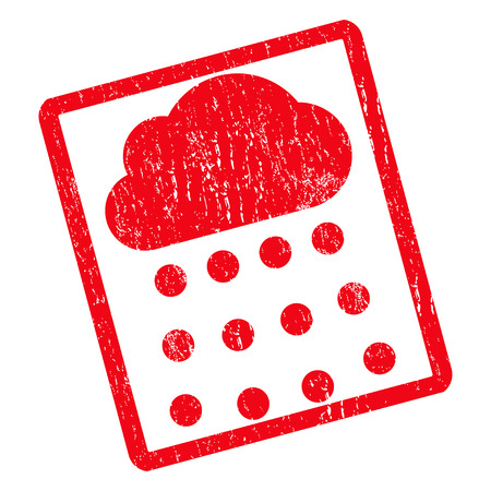 dust cloud: Rain Cloud rubber seal stamp watermark. Vector icon symbol inside rotated rounded rectangle with grunge design and dust texture. Unclean red ink sign on a white background. Illustration