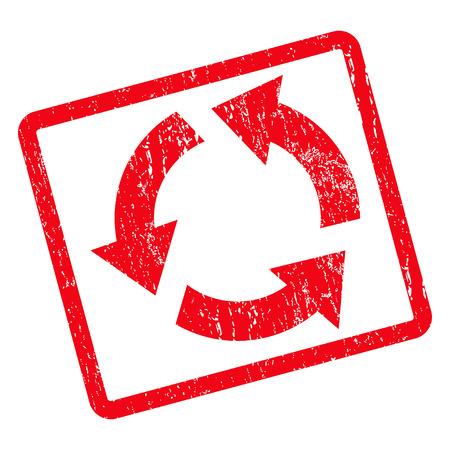 cíclico: Reciclar marca de agua sello de junta de goma. Vector icono de símbolo dentro de girar marco rectangular redondeada con diseño de grunge y textura impuro. Impuro emblema tinta roja sobre un fondo blanco. Vectores