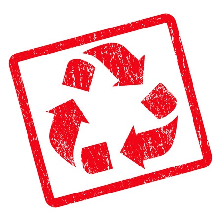 Recycle rubber seal stamp watermark. Vector icon symbol inside rotated rounded rectangle with grunge design and scratched texture. Unclean red ink sticker on a white background.