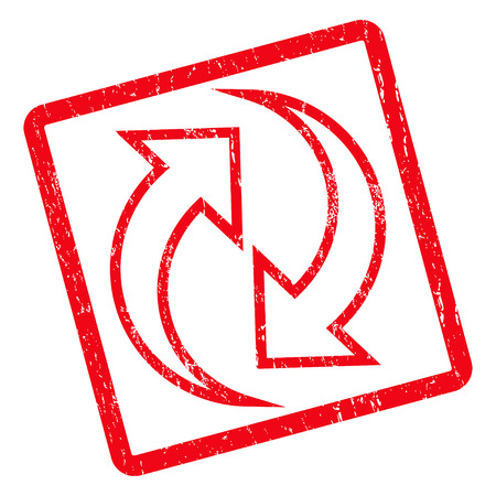 inverse: Refresh Arrows rubber seal stamp watermark. Vector pictogram symbol inside rotated rounded rectangle with grunge design and scratched texture. Unclean red ink emblem on a white background.