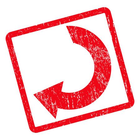 Gire la marca de agua del sello del sello de goma. Vector el símbolo del pictograma dentro del marco rectangular redondeado girado con textura del diseño y del polvo del grunge. Etiqueta engomada sucia de la tinta roja en un fondo blanco.