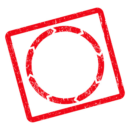synchronize: Rotation rubber seal stamp watermark. Vector pictogram symbol inside rotated rounded rectangular frame with grunge design and unclean texture. Unclean red ink sticker on a white background.