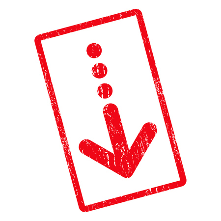 Send Down rubber seal stamp watermark. Vector pictogram symbol inside rotated rounded rectangle with grunge design and dust texture. Unclean red ink sign on a white background.