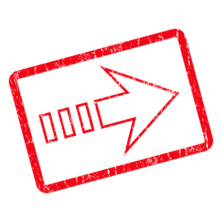 propel: Send Right rubber seal stamp watermark. Vector pictogram symbol inside rotated rounded rectangle with grunge design and dirty texture. Unclean red ink sign on a white background.