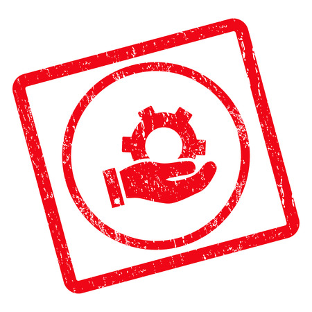 Service rubber seal stamp watermark. Vector icon symbol inside rotated rounded rectangle with grunge design and scratched texture. Unclean red ink emblem on a white background.