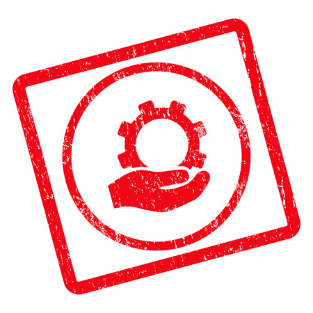 Service rubber seal stamp watermark. Vector pictogram symbol inside rotated rounded rectangle with grunge design and dust texture. Unclean red ink sticker on a white background.