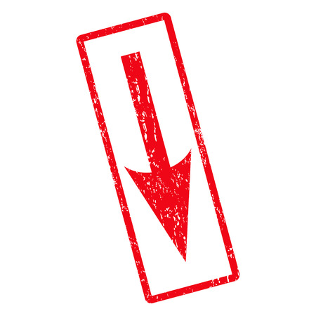 moving down: Sharp Arrow Down rubber seal stamp watermark. Vector icon symbol inside rotated rounded rectangular frame with grunge design and unclean texture. Unclean red ink emblem on a white background.