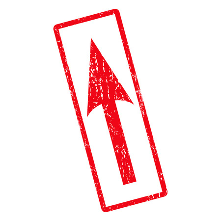 Sharp Arrow Up rubber seal stamp watermark. Vector icon symbol inside rotated rounded rectangle with grunge design and dust texture. Unclean red ink emblem on a white background.