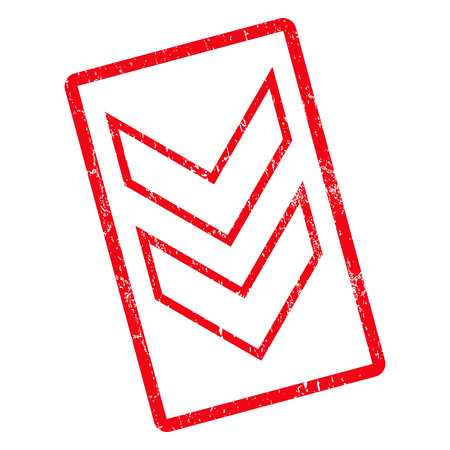 Shift Down rubber seal stamp watermark. Vector icon symbol inside rotated rounded rectangular frame with grunge design and unclean texture. Unclean red ink sticker on a white background.