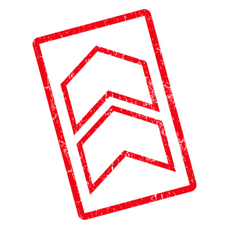 Shift Up rubber seal stamp watermark. Vector pictogram symbol inside rotated rounded rectangle with grunge design and scratched texture. Unclean red ink sign on a white background.