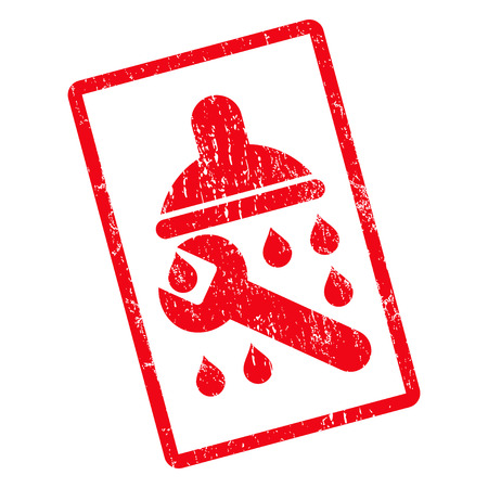 Shower Plumbing rubber seal stamp watermark. Vector pictogram symbol inside rotated rounded rectangular frame with grunge design and unclean texture. Unclean red ink sticker on a white background.
