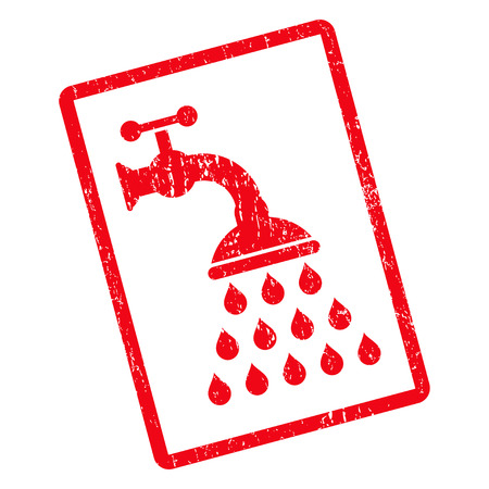 Shower Tap rubber seal stamp watermark. Vector icon symbol inside rotated rounded rectangle with grunge design and dust texture. Unclean red ink sticker on a white background. Illustration
