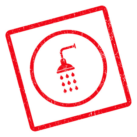 Shower rubber seal stamp watermark. Vector pictogram symbol inside rotated rounded rectangle with grunge design and unclean texture. Unclean red ink sign on a white background. Illustration