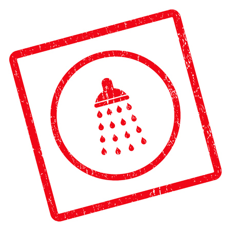 Shower rubber seal stamp watermark. Vector pictogram symbol inside rotated rounded rectangle with grunge design and scratched texture. Unclean red ink sign on a white background. Vectores