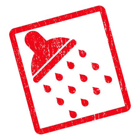 source d eau: Shower rubber seal stamp watermark. Vector pictogram symbol inside rotated rounded rectangular frame with grunge design and scratched texture. Unclean red ink sticker on a white background.