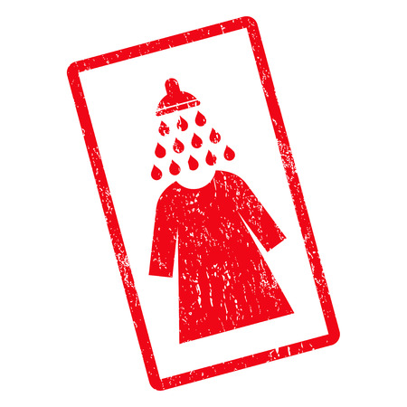 Shower Wash Female Dress rubber seal stamp watermark. Vector pictogram symbol inside rotated rounded rectangle with grunge design and dirty texture. Unclean red ink emblem on a white background.