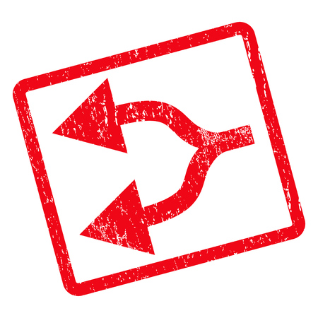 bifurcation: Split Arrows Left rubber seal stamp watermark. Vector icon symbol inside rotated rounded rectangular frame with grunge design and unclean texture. Unclean red ink sticker on a white background.