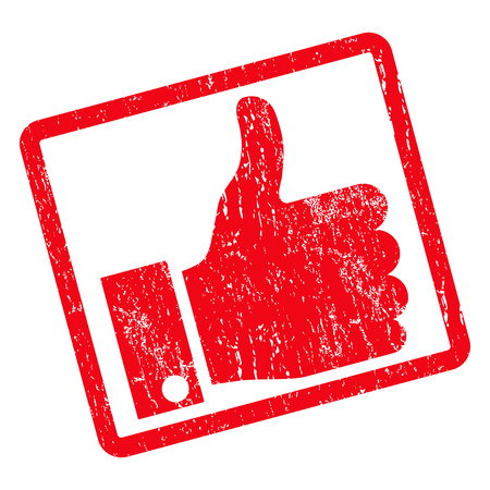 Thumb Up rubber seal stamp watermark. Vector icon symbol inside rotated rounded rectangular frame with grunge design and unclean texture. Unclean red ink sign on a white background.