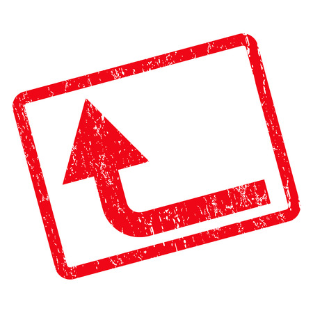 Turn Forward rubber seal stamp watermark. Vector pictogram symbol inside rotated rounded rectangular frame with grunge design and dirty texture. Unclean red ink sign on a white background. Illustration