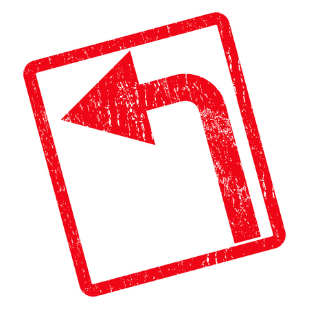 Turn Left rubber seal stamp watermark. Vector pictogram symbol inside rotated rounded rectangle with grunge design and unclean texture. Unclean red ink emblem on a white background.