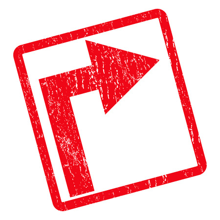 Turn Right rubber seal stamp watermark. Vector icon symbol inside rotated rounded rectangular frame with grunge design and dust texture. Unclean red ink sign on a white background.