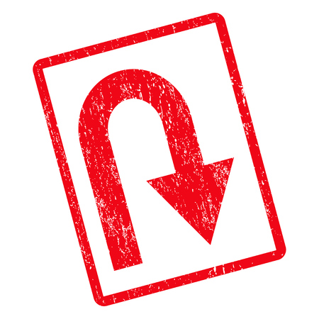 U Turn rubber seal stamp watermark. Vector icon symbol inside rotated rounded rectangle with grunge design and dust texture. Unclean red ink sticker on a white background. Ilustração