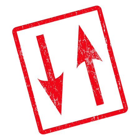 Vertical Exchange Arrows rubber seal stamp watermark. Vector pictogram symbol inside rotated rounded rectangle with grunge design and unclean texture. Unclean red ink emblem on a white background.