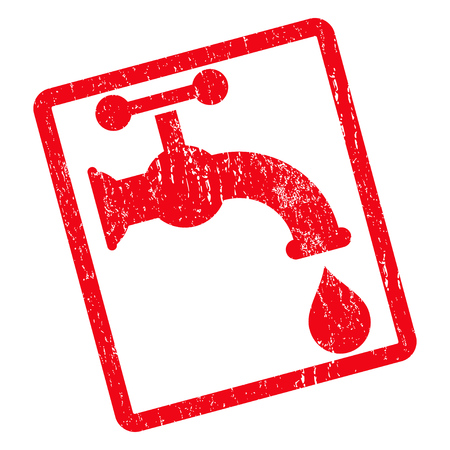 aqueduct: Water Tap rubber seal stamp watermark. Vector icon symbol inside rotated rounded rectangle with grunge design and dirty texture. Unclean red ink emblem on a white background. Illustration
