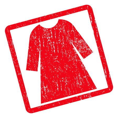 Woman Dress rubber seal stamp watermark. Vector pictogram symbol inside rotated rounded rectangular frame with grunge design and scratched texture. Unclean red ink sticker on a white background.