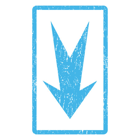 Arrow Down rubber seal stamp watermark. Vector pictogram symbol inside rounded rectangular frame with grunge design and dust texture. Scratched blue ink sign print on a white background.