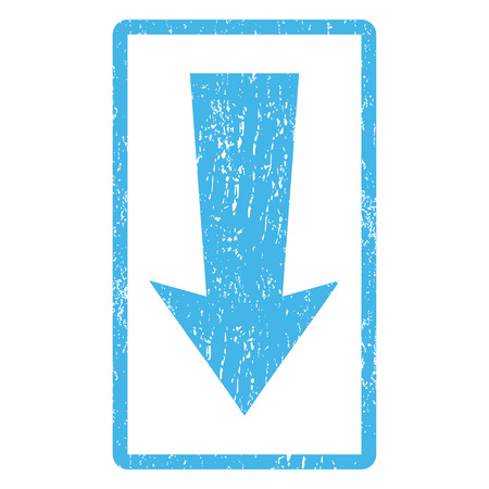 Arrow Down rubber seal stamp watermark. Vector icon symbol inside rounded rectangle with grunge design and dirty texture. Scratched blue ink emblem print on a white background.