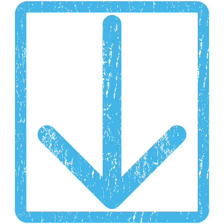 Arrow Down rubber seal stamp watermark. Vector pictogram symbol inside rounded rectangle with grunge design and scratched texture. Scratched blue ink sign print on a white background.