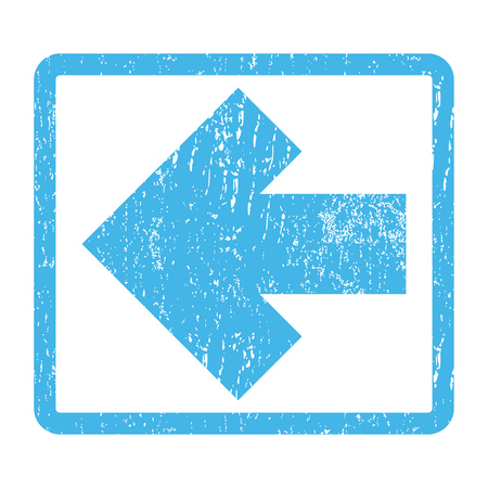 Arrow Left rubber seal stamp watermark. Vector pictogram symbol inside rounded rectangle with grunge design and dirty texture. Scratched blue ink emblem print on a white background.