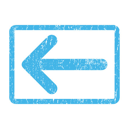 Arrow Left rubber seal stamp watermark. Vector pictogram symbol inside rounded rectangular frame with grunge design and scratched texture. Scratched blue ink emblem print on a white background.