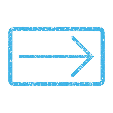 Arrow Right rubber seal stamp watermark. Vector icon symbol inside rounded rectangle with grunge design and unclean texture. Scratched blue ink sticker print on a white background. Illustration