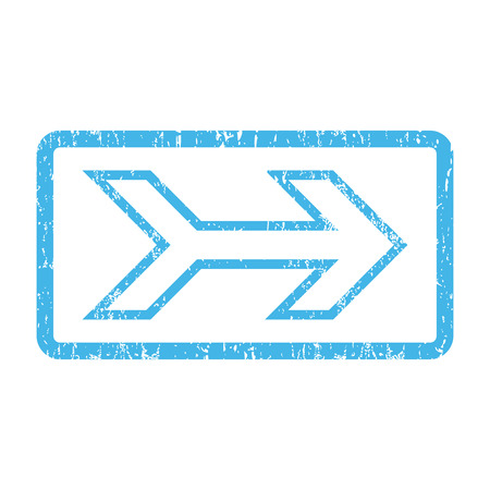 Arrow Right rubber seal stamp watermark. Vector pictogram symbol inside rounded rectangular frame with grunge design and dust texture. Scratched blue ink emblem print on a white background. Illustration